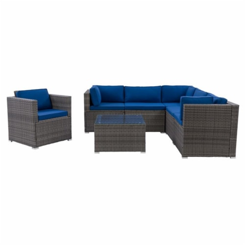 CorLiving Patio Sectional Set 7pc - Grey with Oxford Blue Fabric Cushions Perspective: front