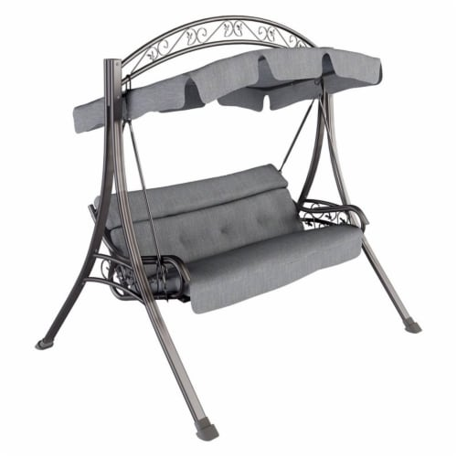 CorLiving Patio Swing with Arched Canopy in Textured Grey Perspective: front