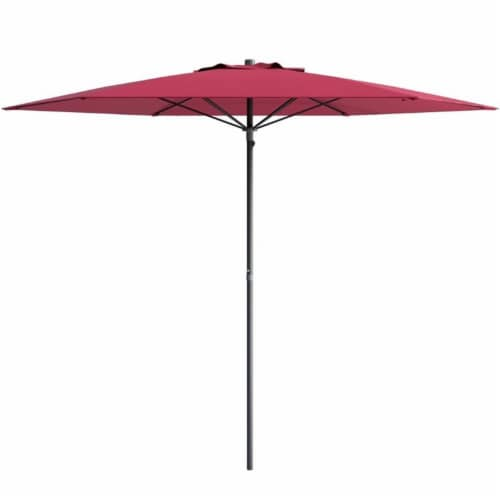 UV and Wind Resistant 7.5' Beach or Patio Umbrella in Red - CorLiving Perspective: front