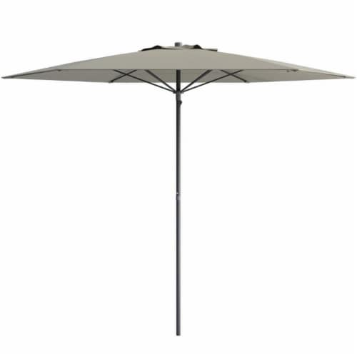 CorLiving 7.5ft UV Resistant Sand Gray Fabric Beach/Patio Umbrella Perspective: front