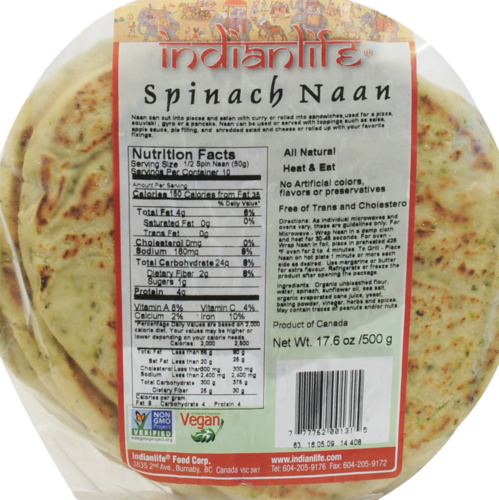 Indian Life Spinach Nan Perspective: front