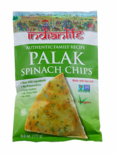 Indian Life Vegan Palak Spinach Chips Perspective: front