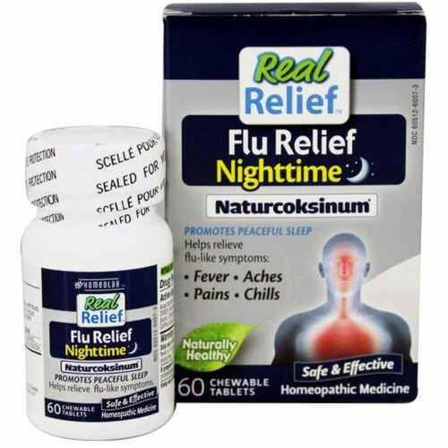 Homeolab USA Real Relief Flu Relief Nighttime Naturcoksinum Chewable Tablets Perspective: front