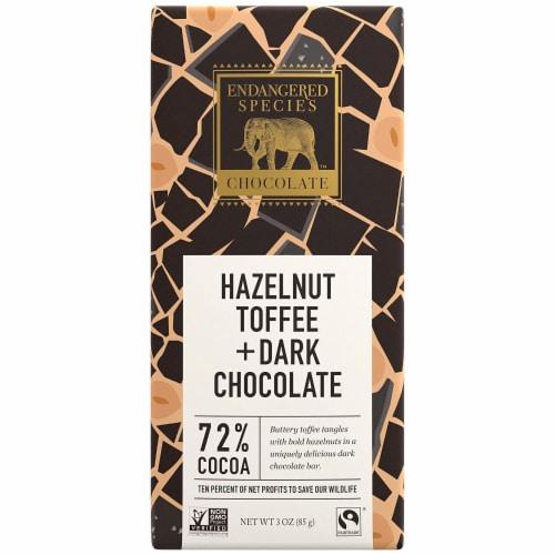 Endangered Species Black Rhino, Natural Dark Chocolate (72%) Hazelnut Toffee, 3-OZ, 12 Pack Perspective: front
