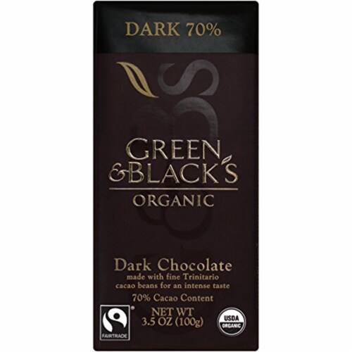 Green & Black's Organic Dark Chocolate, 70% Cacoa, 3.5 Ounce Bars (Pack of 10) Perspective: front