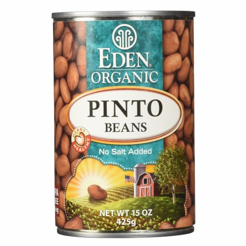 Eden Organic Pinto Beans, No Salt Added, 15-Ounce Cans (Pack of 12) Perspective: front