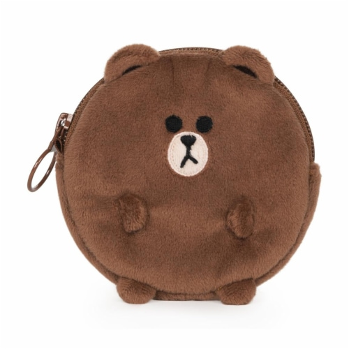 Gund Line Friends Brown Coin Purse Plush Figure Perspective: front
