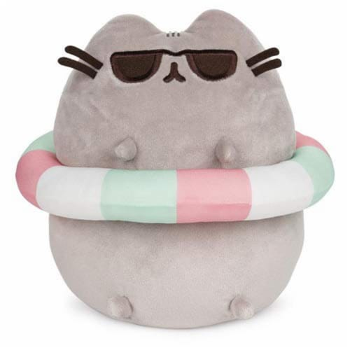 Gund Pusheen Striped Tube And Sunglasses 9.5 Inch Plush Figure Perspective: front