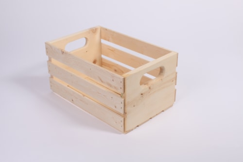 Pine Wood Storage Crate Perspective: front