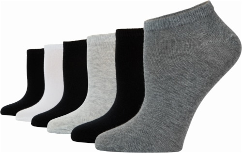 K. Bell® Women's No-Show Socks - 6 Pack - Charcoal/Black/White Perspective: front