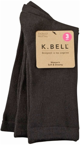 K. Bell® Soft & Dreamy Women's Crew Socks - 3 Pack - Black Perspective: front
