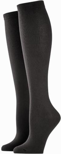 K. Bell® Soft & Dreamy Women's Knee-High Socks - 2 Pack - Black Perspective: front