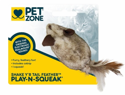 Pet Zone® Play-N-Squeak Shake Y'r Tail Feather Cat Toy Perspective: front