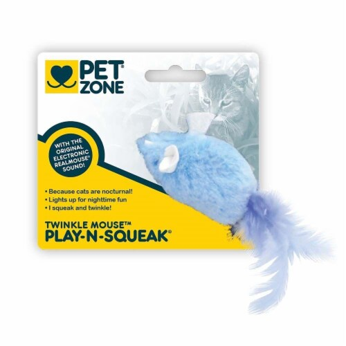 Pet Zone Play-N-Squeak Twinkle Mouse Cat Toy Perspective: front