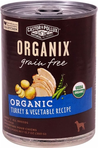 Castor & Pollux  Organix® Adult Dog Food Grain Free   Turkey & Vegetable Recipe Perspective: front