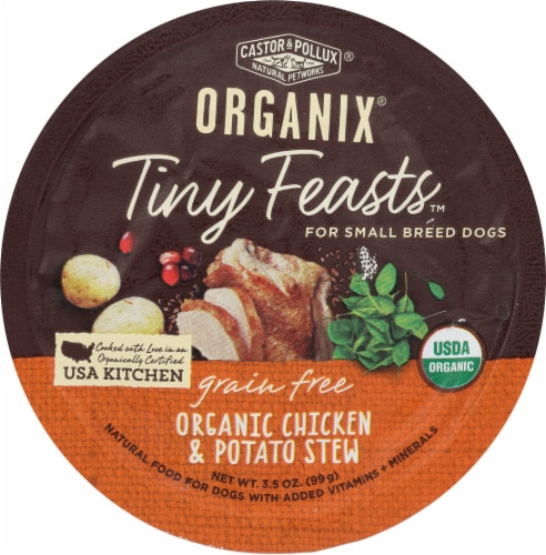 Castor & Pollux Organix Tiny Feasts Organic Chicken & Potato Stew Wet Dog Food Perspective: front