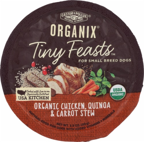 Castor & Pollux Organix Tiny Feasts Organic Chicken Quinoa & Carrot Stew Wet Dog Food Perspective: front