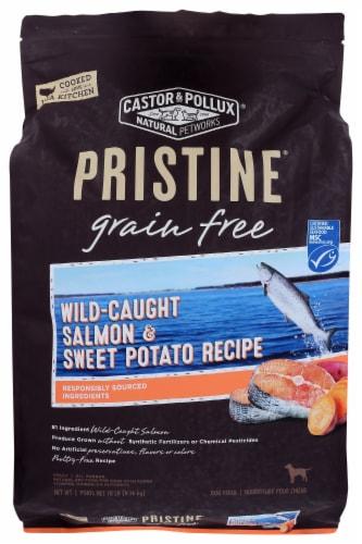 Castor & Pollux Pristine Grain Free Wild-Caught Salmon & Sweet Potato Recipe Dry Adult Dog Food Perspective: front