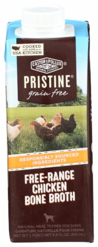 Castor & Pollux Pristine Grain Free Free-Range Chicken Bone Broth Meal Topper Wet Dog Food Perspective: front