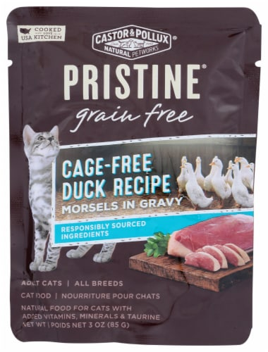 Castor & Pollux Pristine Grain Free Cage-Free Duck Recipe Morsels in Gravy Adult Wet Cat Food Perspective: front