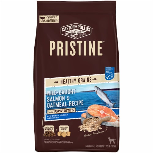 Castor & Pollux Pristine Wild-Caught Salmon and Oatmeal Recipe Dry Adult Dog Food Perspective: front