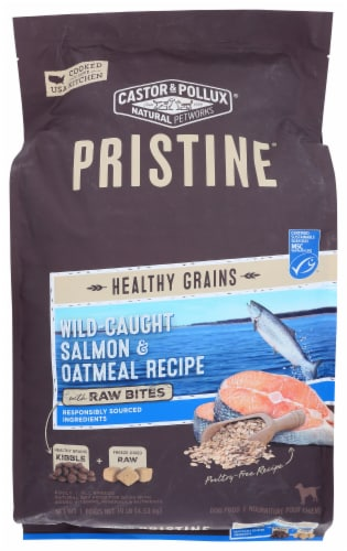 Castor & Pollux Pristine Wild-Caught Salmon & Oatmeal Recipe Dry Adult Dog Food Perspective: front