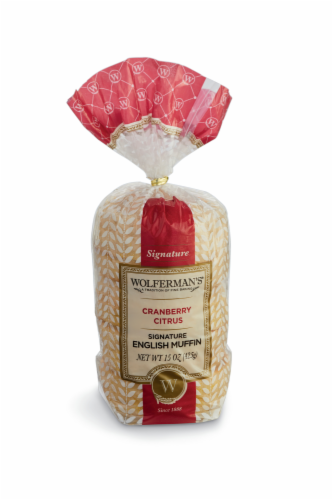Wolferman's Cranberry Citrus English Muffin 4 Count Perspective: front