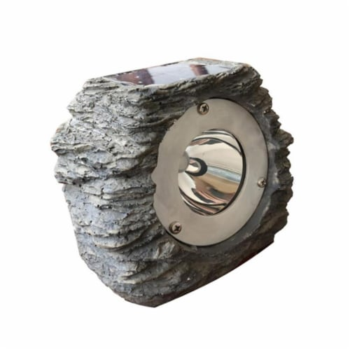 Gray Solar Powered LED Rock Spotlight, Perspective: front