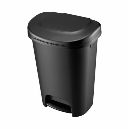 13 gal Step on Wastebasket, Black - Case of 4 Perspective: front