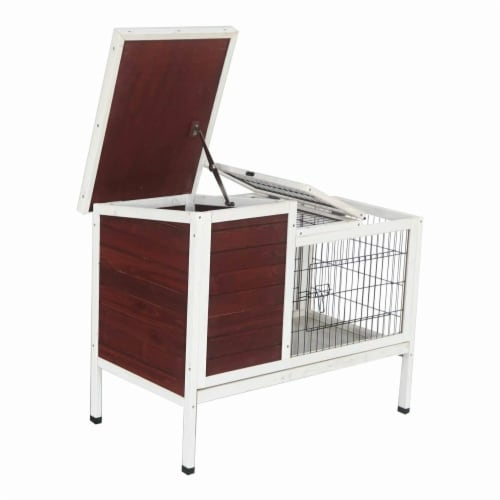 Fir Wood Chicken Coop or Rabbit Hutch with Small Chicken Run - Red & White - 36 x 22 x 30 in. Perspective: front