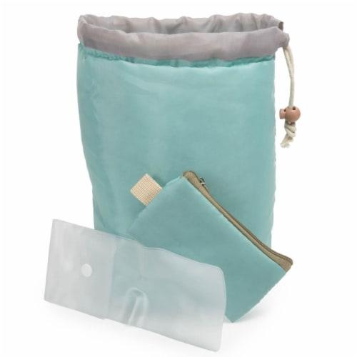 Green & Grey Make-Up Bag Perspective: front