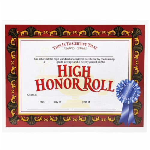 Hayes High Honor Roll Award, 8.5 x 11 in. - 30 Per Pack Certificates - Pack of 3 Perspective: front
