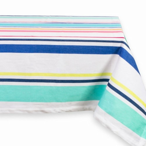 52 x 52 in. Beachy Keen Stripe Table Cloth Perspective: front