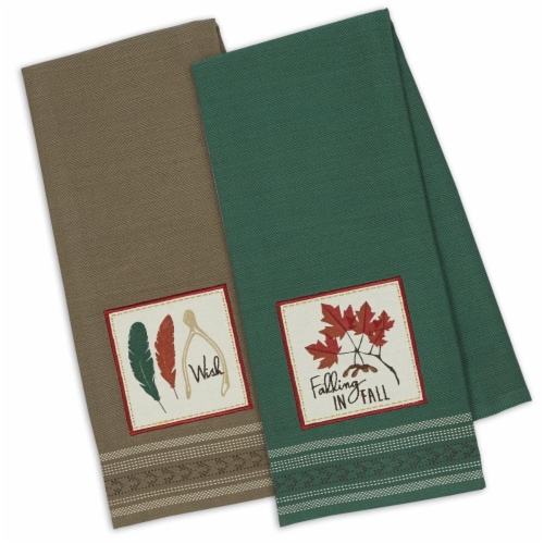 Falling in Fall Embroidered Dish Towel Perspective: front