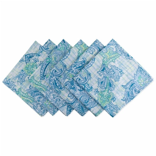 Blue Watercolor Paisley Print Outdoor Napkin - Set of 6 Perspective: front