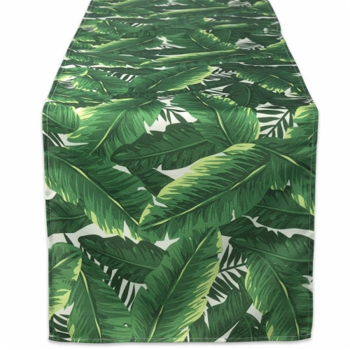 14 x 72 in. Banana Leaf Outdoor Table Runner Perspective: front