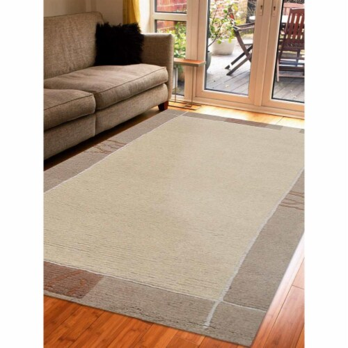 6 ft. 7 in. x 9 ft. 10 in. Hand Knotted Tibbati Wool Contemporary Rectangle Area Rug, Beige Perspective: front