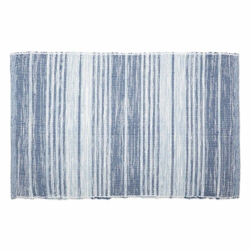 Variegated French Blue Recycled Yarn Rug, 2 x 3 ft. Perspective: front