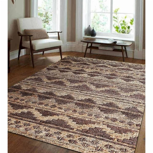 5 x 8 ft. Hand Knotted Sumak Jute Eco-Friendly Oriental Rectangle Area Rug, Chocolate & Natur Perspective: front