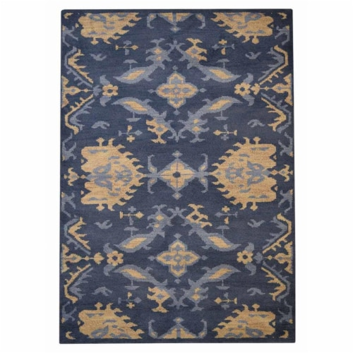 9 x 12 ft. Hand Knotted Wool Floral Rectangle Area Rug, Blue Perspective: front