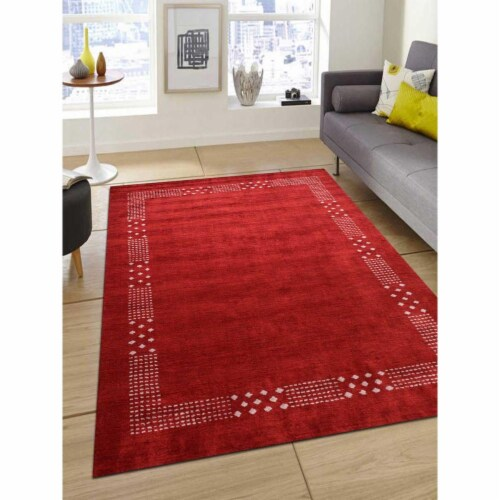 8 x 10 ft. Hand Knotted Gabbeh Silk Contemporary Rectangle Area Rug, Red Perspective: front