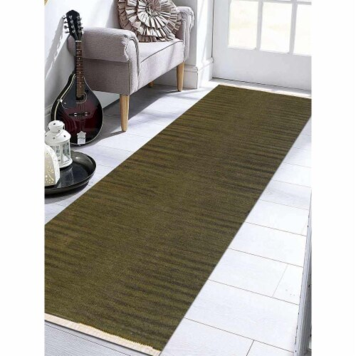 2 ft. 6 in. x 6 ft. Hand Woven Flat Weave Kilim Wool Runner Rug, Olive Perspective: front