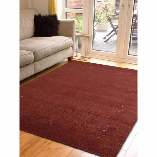 6 ft. 7 in. x 9 ft. 10 in. Hand Knotted Gabbeh Wool Contemporary Rectangle Area Rug, Red Perspective: front