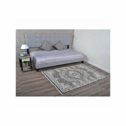 9 x 12 ft. Machine Woven Crossweave Polyester Oriental Rectangle Area Rug, Beige & Black Perspective: front