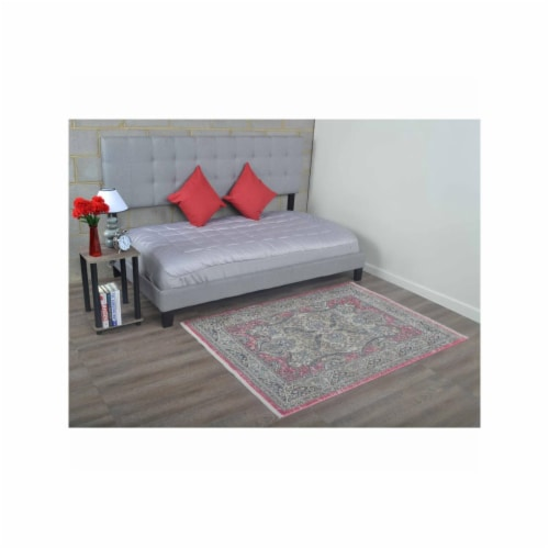 3 ft. 11 in. x 5 ft. 10 in. Machine Woven Crossweave Polyester Oriental Rectangle Area Rug, M Perspective: front
