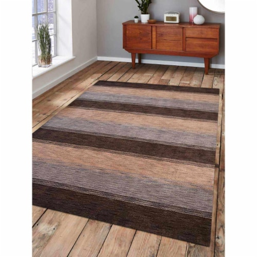 8 x 10 ft. Hand Knotted Gabbeh Wool Contemporary Rectangle Area Rug, Brown & Light Blue Perspective: front