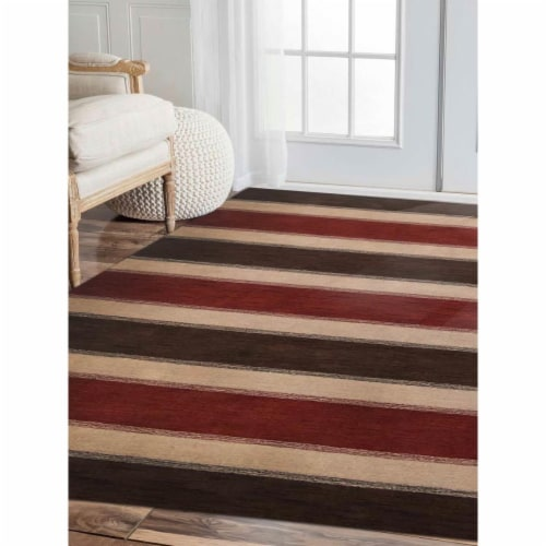 8 x 10 ft. Hand Knotted Gabbeh Wool Contemporary Rectangle Area Rug, Brown & Beige Perspective: front