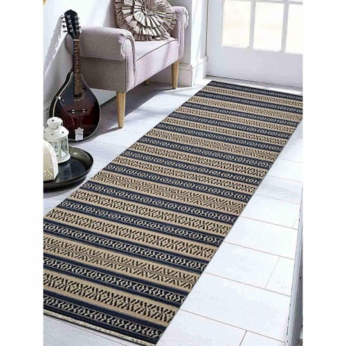 3 x 13 ft. Hand Woven Flat Weave Kilim Wool Contemporary Runner Rug, Aqua & Cream Perspective: front