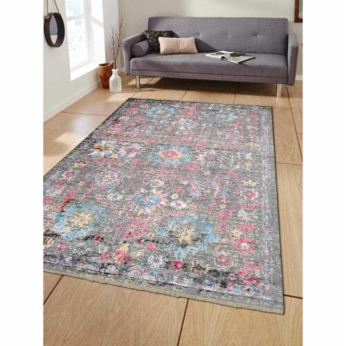 4 ft. x 5 ft. 11 in. Machine Woven Crossweave Polyester Oriental Rectangle Area Rug, Multi Co Perspective: front