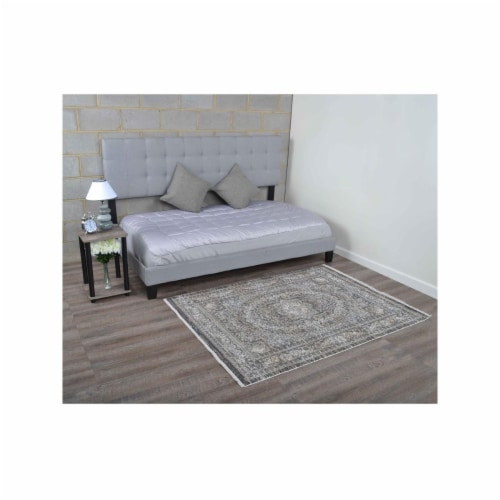 4 ft. 8 in. x 6 ft. 9 in. Machine Woven Crossweave Polyester Oriental Rectangle Area Rug, Mul Perspective: front